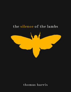"""A minimalist book cover for """"The Silence of the Lambs"""" by Thomas Harris. It features selective but striking color and a stripped-down layout."""