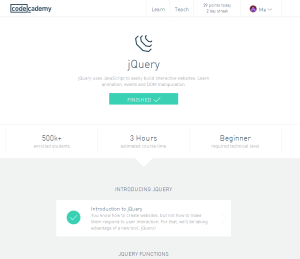 A screenshot of my completed JQuery page on Codecademy.