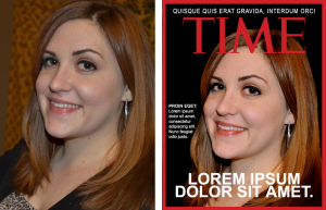 LEFT: The 'before' image of me prior to the pen tool. RIGHT: The 'after' image of me, superimposed onto the cover of TIME for my achievements in Lorem Ipsumology.