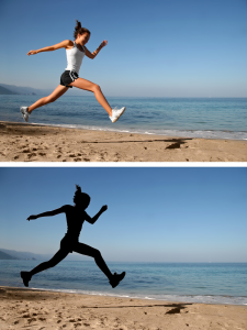 TOP: The 'before' picture of a woman running on the beach. BOTTOM: The 'after' picture of the same woman's silhouette, as created by the pen tool. Note the clumsily rendered fingers and shoelaces.