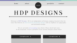 """A website mockup for the fictional """"HDP Designs' firm, using minimal color and white space to create a striking but simple design."""